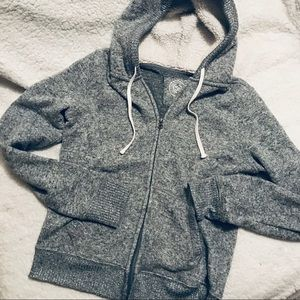 So Soft Zip-up Sweater Hoodie with Faux Fur Hood